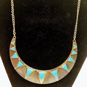 Metal Gold Colored Necklace Aqua Triangle Insets